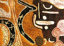 Forntida abstrakt infödd artwortk, Australien Fotografering för Bildbyråer