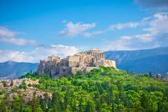 Forntida akropol, Aten, Grekland Fotografering för Bildbyråer
