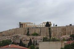 Forntida akropol av Aten under konstruktion Royaltyfria Bilder