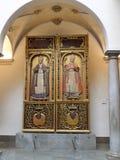 Forntida altartavla, Madraza slott, historisk mitt, Andalusia, Spanien, Europa royaltyfri bild