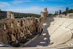 Forntida amfiteater i akropolen, Aten Grekland royaltyfria bilder
