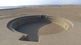 Forntida amfiteater i Bandurria, nära Lima, i Peru Fotografering för Bildbyråer