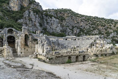 Forntida amfiteater i Myra (Demre), Turkiet Royaltyfria Bilder
