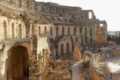 Forntida amfiteater, Tunisien, Afrika Arkivbild