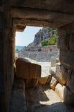 Forntida amphitheater i Myra, Turkiet arkivfoton