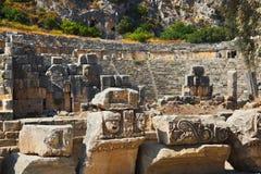 Forntida amphitheater i Myra, Turkiet royaltyfria bilder