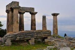 forntida apollo corinth tempel Royaltyfri Bild