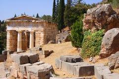 forntida arkitektur delphi greece Royaltyfri Foto