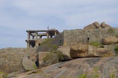 Forntida arkitektur staden av Hampi i Indien Arkivfoton