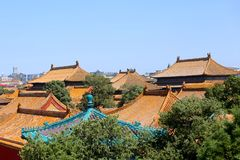 Forntida arkitektur, tak av Forbiddenet City, Peking, Kina arkivbild