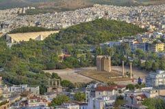 forntida athens greece olympisk tempelzeus Arkivbilder