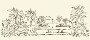Forntida Babylon bakgrund som tecknar den blom- gräsvektorn stock illustrationer