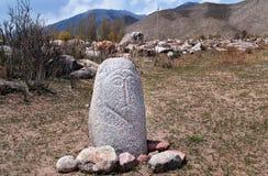 Forntida balbal staty Arkivbild