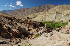 Forntida Basgo kloster i Ladakh, Indien Royaltyfria Foton