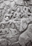 Forntida basreliefs och statyer i Mamallapuram, Tamil Nadu, I Royaltyfri Bild