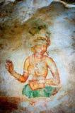 Forntida berömda väggfrescoes på Sigirya Sri Lanka Arkivfoton