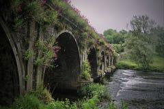 forntida bro över ström Royaltyfri Fotografi