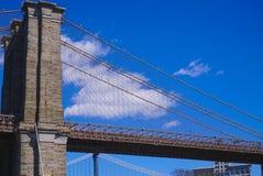 Forntida Brooklyn bro New York - en iconic gränsmärke MANHATTAN - NEW YORK - APRIL 1, 2017 Royaltyfri Fotografi