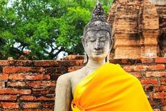 Forntida Buddha i Ayuthaya Arkivfoton