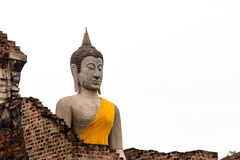Forntida Buddha i Wat Yai Chaimongkol, Ayutthaya, Thailan Templet är offentlig i Thailand royaltyfri fotografi