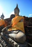 Forntida Buddha på Ayutthaya Royaltyfria Foton