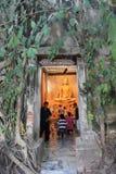 Forntida Buddha på den Bangkung templet Arkivfoto