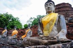 Forntida buddha staty i Ayutthaya, Thailand Fotografering för Bildbyråer
