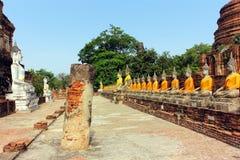 Forntida buddha statyer v?nder mot - till - framsidan och f?rd?rvar av den Wat Yai Chaimongkol templet i Ayutthaya, Thailand arkivbild