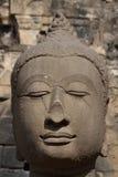 Forntida Buddhaframsida, Ayutthaya, Thailand Arkivfoton