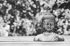 Forntida Buddhastaty på naturlig bakgrund monokrom Arkivbild