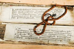 Forntida buddistisk skrift Royaltyfri Foto