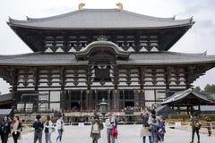 Forntida buddistisk tempel Todai-ji i Nara Arkivbilder