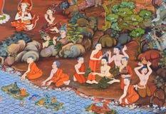 Forntida buddistisk väggmålning Fotografering för Bildbyråer