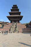 Forntida buddistiska tempel på Durbar kvadrerar i Bhaktapur, Nepal Royaltyfri Foto