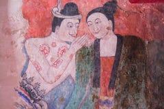 forntida buddistiskt vägg- tempel arkivbild