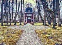 Forntida byggnad av det öppna offentliga museet för Ungermuizha luft, Cesis region, Lettland Arkivbild