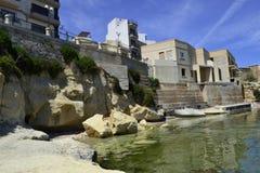 Forntida byggnad i Malta Arkivfoto