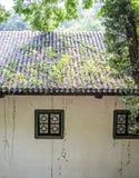 Forntida byggnader och bambu arkivbild