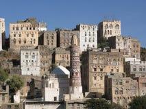 forntida byggnader yemen Arkivfoto