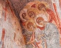 Forntida bysantinsk freskomålning arkivfoton