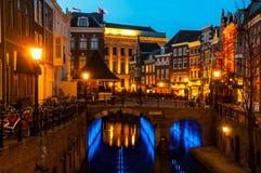 Forntida centrum av Utrecht, Nederländerna Arkivfoto