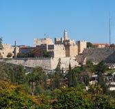 Forntida citadel och torn av David i Jerusalem royaltyfri fotografi