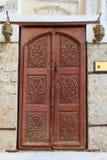 Forntida dörr i gammal stad av Jeddah Balad Traditionell balad härlig liten stad i den Jedah regionen Royaltyfri Fotografi