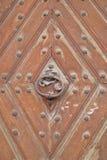 Forntida dörr med ett metallhandtag Royaltyfri Foto