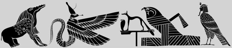 forntida demoner olika egypt stock illustrationer