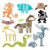 Forntida djura symboler för Aztec och för maya royaltyfri illustrationer