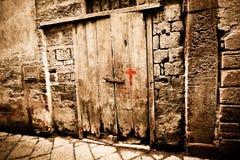 forntida dörrträ Arkivfoto