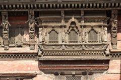 forntida durbar kathmandu nepal fyrkantiga fönster Arkivfoto