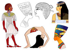 forntida egypt element royaltyfri illustrationer