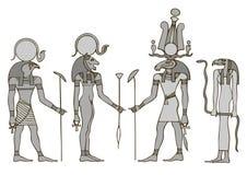 forntida egypt gudar stock illustrationer